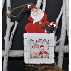 """Déco de Noël en bois à suspendre """"Père Noël"""""""