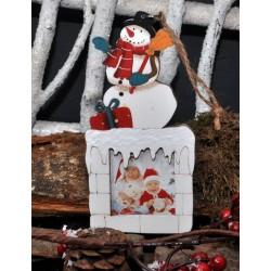 """Déco de Noël en bois à suspendre """"Bonhomme de Neige"""""""