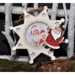 Etoile blanche avec père Noël